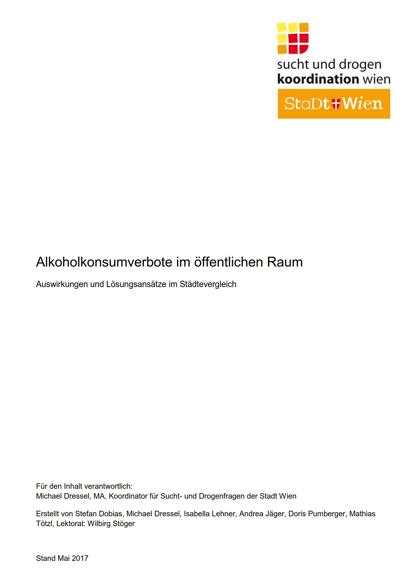 """Titelseite der Studie """"Alkoholkonsumverbote im öffentlichen Raum Auswirkungen und Lösungsansätze im Städtevergleich"""""""