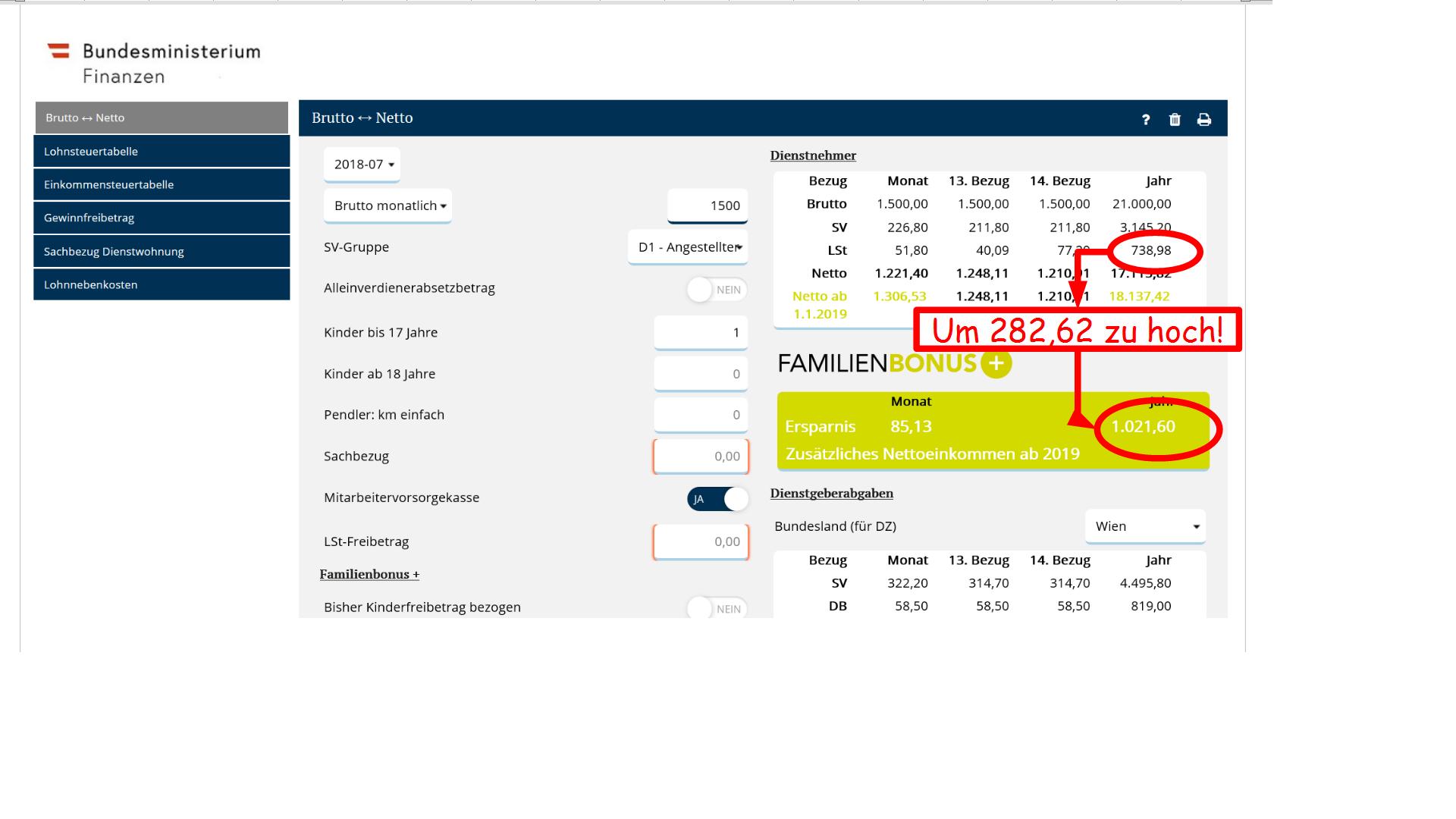 screenshot des Familienbonusrechners bei 1.500 Euro Bruttoeinkmmen