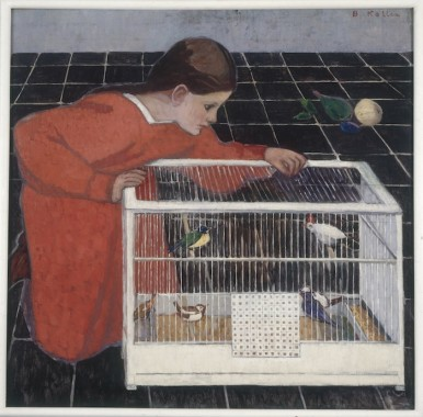 Broncia Koller-Pinell, Silvia Koller mit Vogelkäfig, 1907/08 © Vera Eisenberger KG, Wien